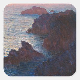 Rocks at Belle-lle, Port-Domois by Claude Monet Square Sticker