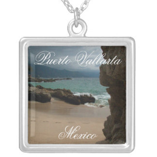 Rocks at Conchas Chinas; Puerto Vallarta, Mexico Silver Plated Necklace