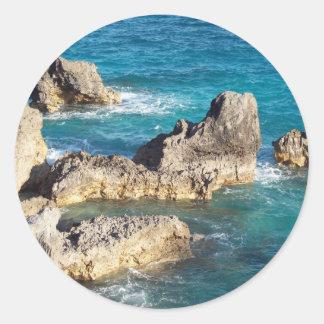 Rocks at Horseshoe Beach Classic Round Sticker