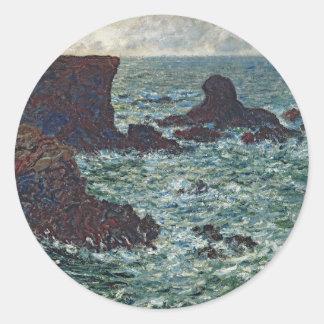 Rocks at Port-Coton, the Lion (1886) Classic Round Sticker