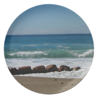 Rocks at the Beach; No Text Melamine Plate