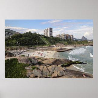 Rocks between Ipanema and Copacabana beaches Rio Poster