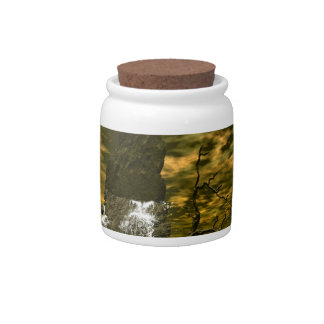 Rocks in the sea with waterfalls candy jar