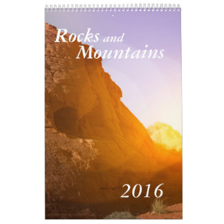 Rocks Mountains calendar customizable single page
