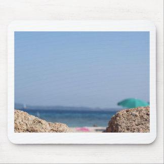 Rocks of Tavolara island on blurred background Mouse Pad