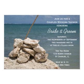 Rocks on Beach Couples Wedding Shower Invitation