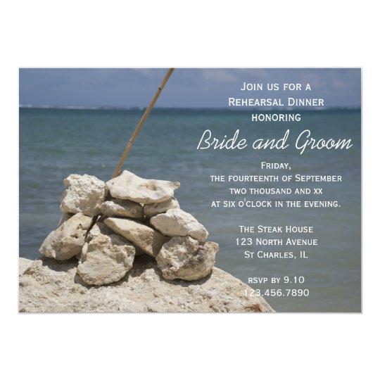 Rocks on Beach Wedding Rehearsal Dinner Invitation