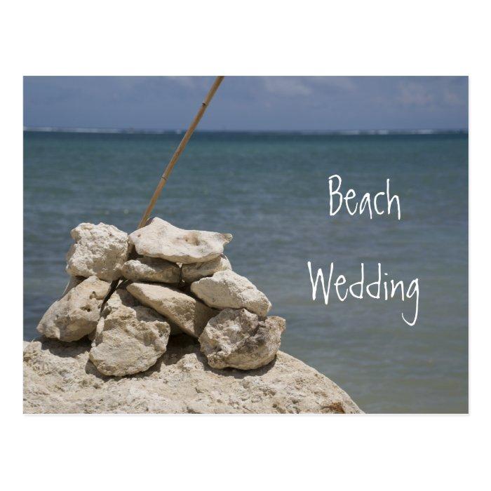 Rocks on Beach Wedding Save the Date Postcard