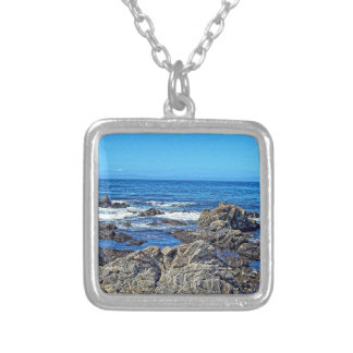 Rocks on the beach01 silver plated necklace
