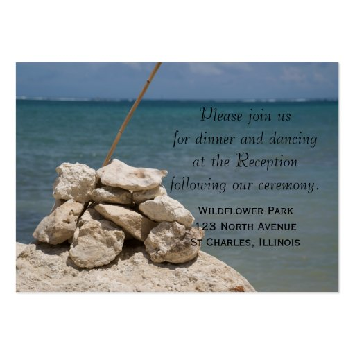 Rocks on the Beach Wedding Reception Card Large Business Cards (Pack Of 100)