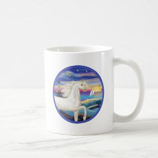 Rocks-Sea-White Arabian Horse Coffee Mug