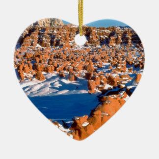 Rocks Snowcovered Goblin Valley Utah Ceramic Ornament