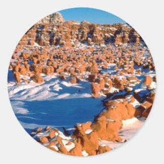 Rocks Snowcovered Goblin Valley Utah Classic Round Sticker
