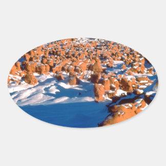 Rocks Snowcovered Goblin Valley Utah Oval Sticker