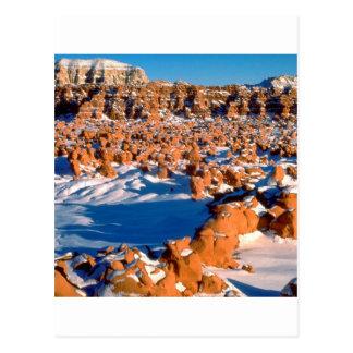 Rocks Snowcovered Goblin Valley Utah Postcard