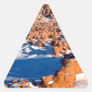 Rocks Snowcovered Goblin Valley Utah Triangle Sticker