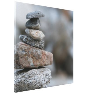 "Rocks Stacked 24"" x 24"" Wrapped Canvas"