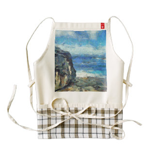 Rocks stand against fury of waves zazzle HEART apron