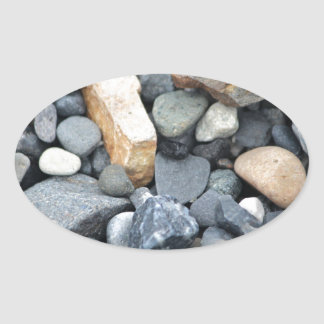 Rocks, stones, and gravel oval sticker