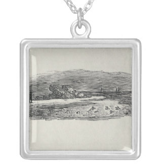Rocks with Coastal Shipping, Silver Plated Necklace