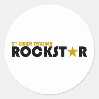 Rockstar - 5to grado pegatina redonda