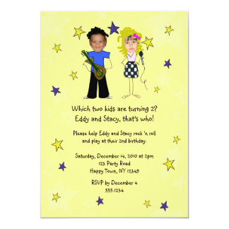 Rockstar Birthday Party Photo Impose 5x7 Paper Invitation Card