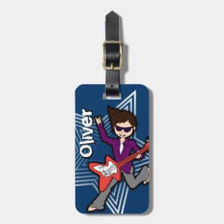 Rockstar blue kids id luggage tag