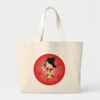 Rockstar Emo Girl With Guitar Red Large Tote Bag