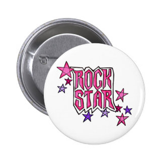 RockStar en rosa Pin Redondo De 2 Pulgadas