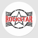 Rockstar Etiquetas Redondas