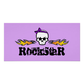 Rockstar Flames & Girlie Skull with a Purple Bow P Posters