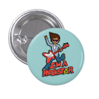 Rockstar guitar boy blue button