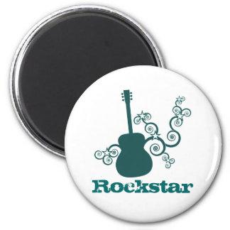 Rockstar Guitar Magnet, Dark Teal 2 Inch Round Magnet