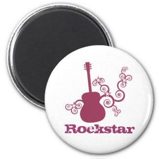 Rockstar Guitar Magnet, Fuchsia 2 Inch Round Magnet