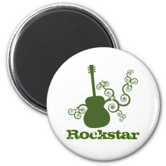Rockstar Guitar Magnet, Green 2 Inch Round Magnet