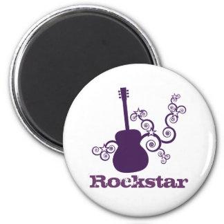 Rockstar Guitar Magnet, Purple 2 Inch Round Magnet
