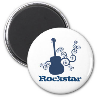 Rockstar Guitar Magnet, Royal Blue 2 Inch Round Magnet