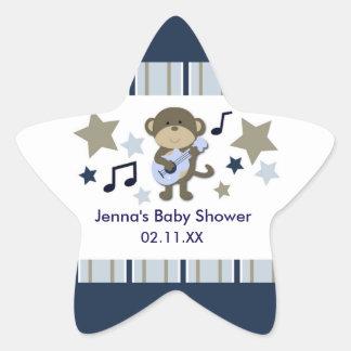 RockStar Monkey Baby Shower STAR Sticker