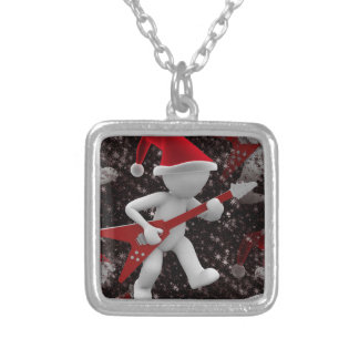 rockstar santa silver plated necklace