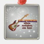 Rockstars are born in California Christmas Tree Ornaments