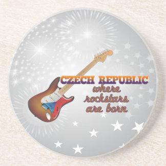 Rockstars are born in Czech Republic Sandstone Coaster
