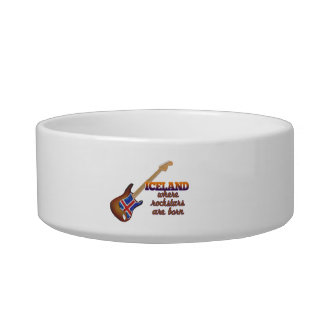 Rockstars are born in Iceland Cat Water Bowl