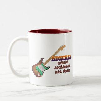 Rockstars are born in Nigeria Two-Tone Coffee Mug