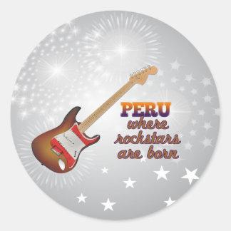 Rockstars are born in Peru Classic Round Sticker
