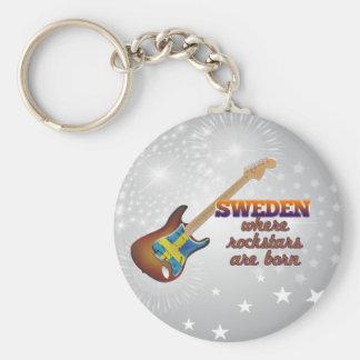 Rockstars are born in Sweden Basic Round Button Keychain