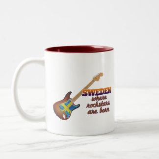 Rockstars are born in Sweden Two-Tone Coffee Mug