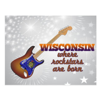 Rockstars are born in Wisconsin Postcard