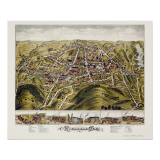Rockville, CT Panoramic Map - 1877 Posters