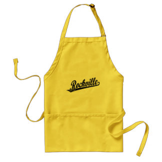Rockville script logo in black distressed adult apron