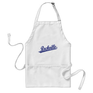 Rockville script logo in blue adult apron